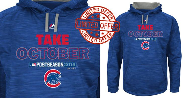 ★ SPECIAL EVENT ITEM /  MLB Playoffs Chicago Cubs Hoodie ★  ★ Officially LICENSED ★   Majestic Chicago Cubs Royal 2015 Playoff On Field Take October Streak Fleece Hoodie Get the perfect look to let everyone know who you cheer for in this On Field Streak Fleece from Majestic! It features vibrant Chicago Cubs graphics to ensure you're ready to root for your team!   This is a special event item. Orders containing this item will be shipped separately. This item w