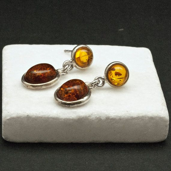 Amber Earrings Natural Baltic Honey Amber and by SunSanJewelry
