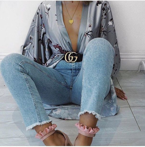$40 Grey Purple Floral Print Patterned Oriental Silk Satin Kimono Black Leather Gucci Gold Logo Buckle Belt Light Wash Light Blue Frayed Denim Jeans Spring Summer Outfit Tumblr
