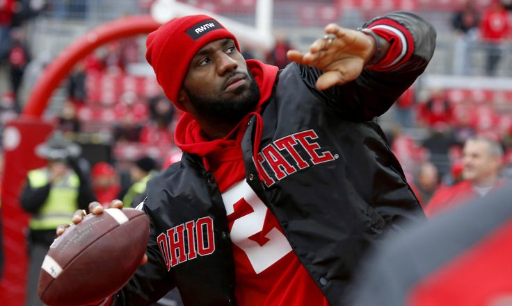 Nov 26, 2016; Columbus, OH, USA;  Cleveland Cavaliers player LeBron James plays catch with the Ohio State Buckeyes team before the game against the Michigan Wolverines at Ohio Stadium. Mandatory Credit: Joe Maiorana-USA TODAY Sports ORG XMIT: USATSI-271184 ORIG FILE ID:  20161126_jla_mb3_094.jpg