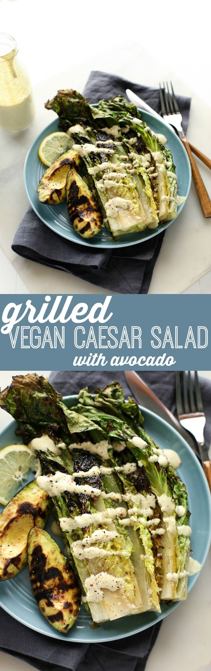 Grilled Vegan Caesar Salad with Avocado | Drizzled with garlicky, zesty, and ultra-creamy nut-free caesar dressing!