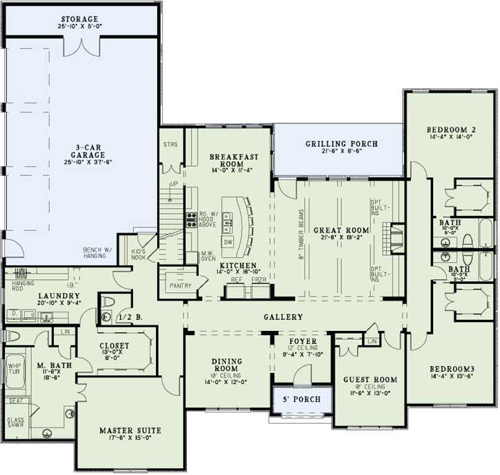 3400 sq ft ranch laundry by master favorite floor plans for House plans with large laundry room