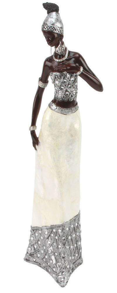Juliana Ebony Effect Crystal African Masai Figurine Gift Ornament Standing 40cm