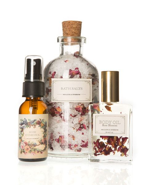 Set Includes: Mini Rose Bath Salts: Known for its properties to strengthen and open the heart, organic essential rose oil combined with red rose petals provides