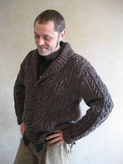 Lovely men's cabled sweater. Warmth and masculinity all rolled into one. Just bought this pattern. Wish me luck!