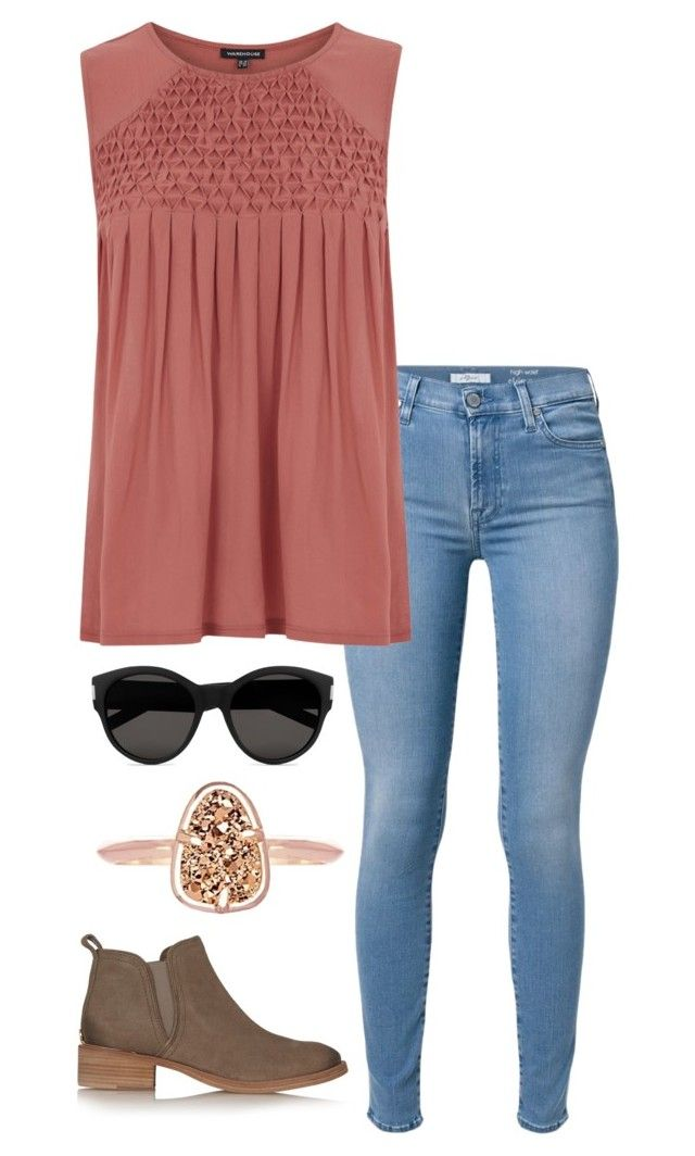 """""""detailed top"""" by helenhudson1 ❤ liked on Polyvore featuring 7 For All Mankind, Warehouse, Yves Saint Laurent, Tory Burch and Kendra Scott"""