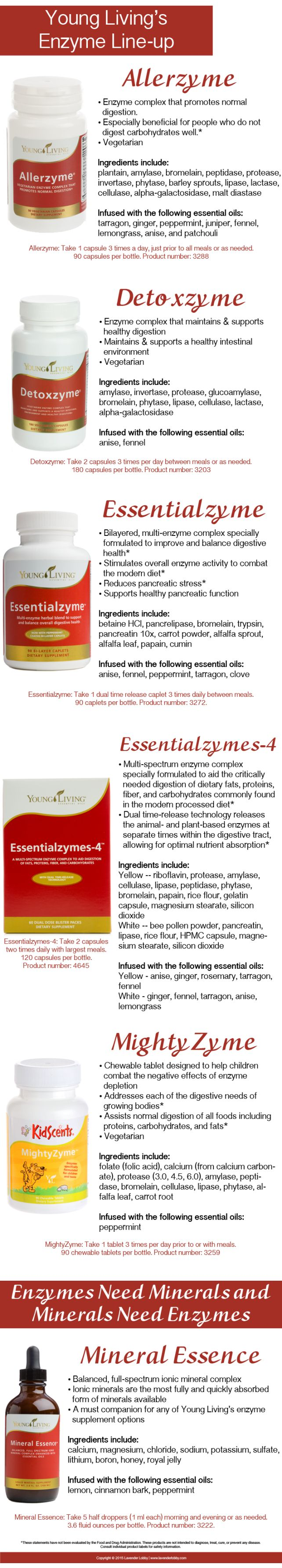 Unfortunately, today's modern diet often creates dietary imbalance with both minerals and enzymes. This is why supplements are important: they can help us maintain dietary balance so we can get the most nutrients from our foods. Young Living has several types of supplemental enzymes along with a mineral supplement. This  graphic helps focus on each of Young Living's enzyme supplements along with their mineral essence supplement. http://www.yldist.com/a2z4healt