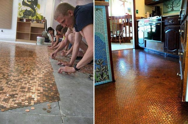 Copper Pennies   Clear Resin = Beautiful #Floor: To Work, Clear Resins, Cool Ideas, Square, House, Home Improvement, Pennies Floors, Concrete Floors, Copper Pennies