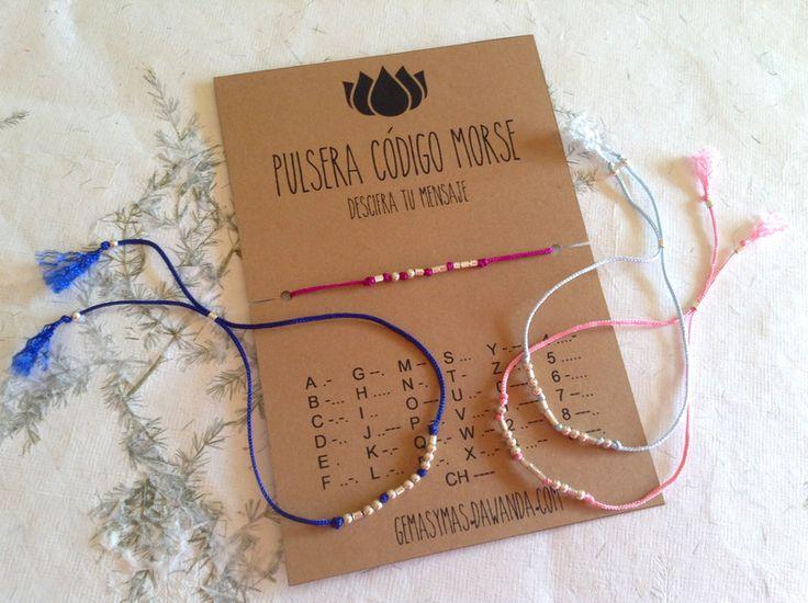 Pulsera Código Morse TE AMO en plata de ley de Gemasymas por DaWanda.com