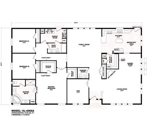 fleetwood mobile home floor plans and prices   Durango Homes   XL   XL-4068A   Cavco