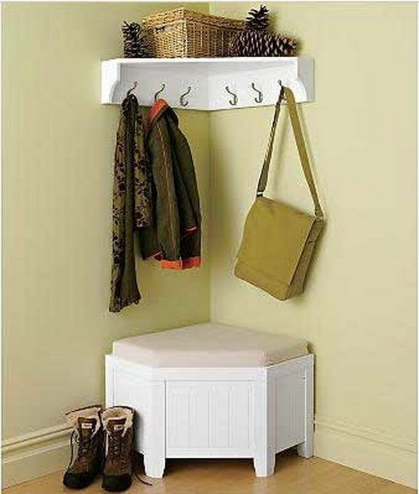 Furniture, Small Corner Mudroom Design With Rattan Basket Storage Shelves Clothing Hooks And White Wooden Bench Seat Ideas: 60 Appealing Mudroom and Hallway Storage Ideas to Apply