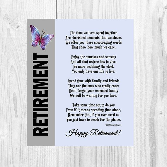 25+ great ideas about Retirement Poems on Pinterest   Retirement ...