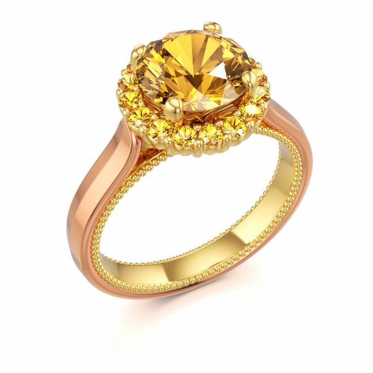 Cute NOBLESSE Halo Engagement Ring with Citrine and Yellow Sapphire in k Red Gold and k