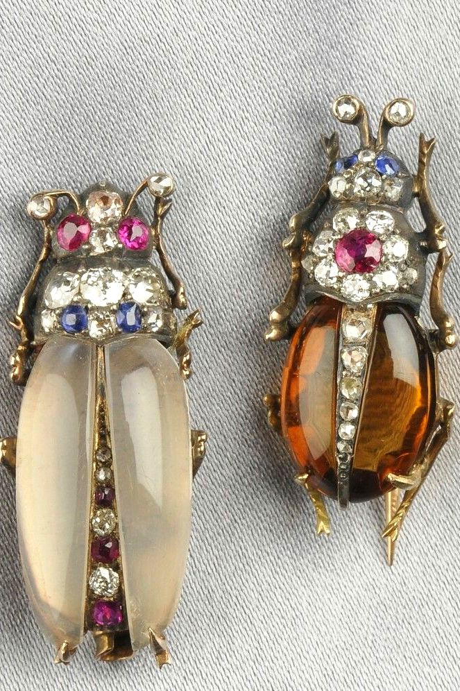 antique gem-set insect brooches with citrine + moonstone bodies,  ruby + sapphire melee, old mine + rose-cut diamond accents, and silver + gold mounts