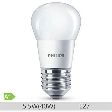 Bec LED Philips 5.5W E27 forma clasica P45, lumina calda