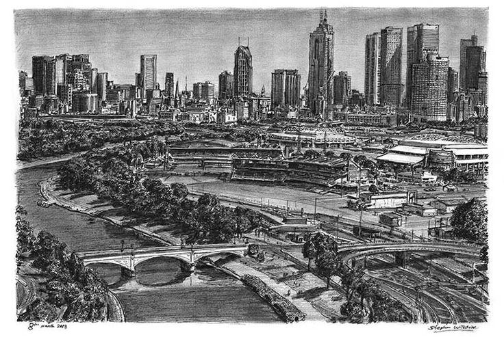 Aerial view of Melbourne - drawings and paintings by Stephen Wiltshire MBE