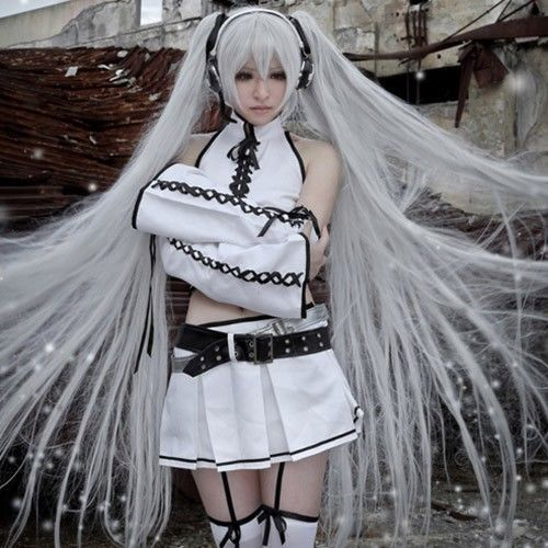 Vocaloid Hatsune Silver Black Rock Shooter Miku Cosplay Costume Full SET + WIG #Unbranded #Suit