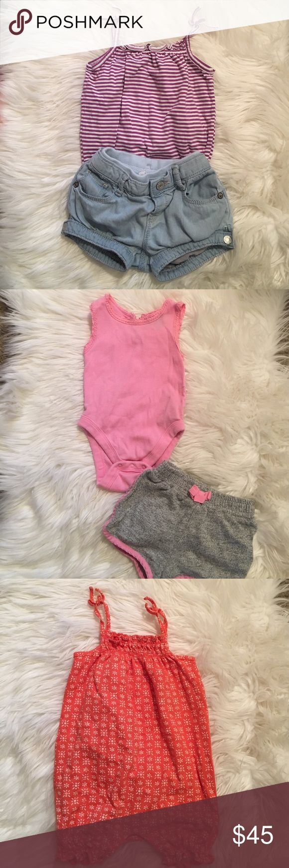 Baby girl gap bundle🌸11 pieces 4 pairs of 3-6 month gap shorts-3 snap tank tops gap 3-6 months- orange jumper 6-9 months gap- navy blue jumper gap 3-6 months--- bonus denim & stars dress with bloomers carter's 6 months--- Oshkosh overall shorts 6 months GAP Matching Sets