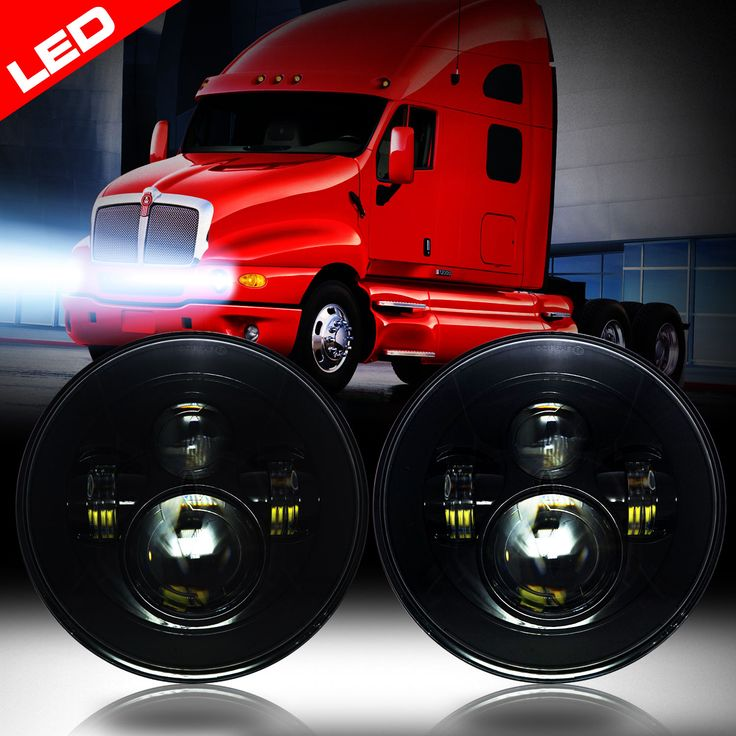 Kenworth T2000 LED Headlights Black Housing Projector
