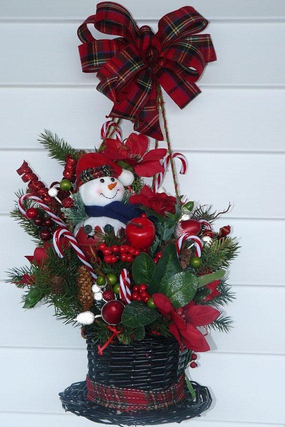 Christmas Christmas Wreath Snowman Wreath By