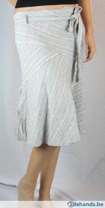 Grijs - beige linnen rok v. New Look - Maat 42