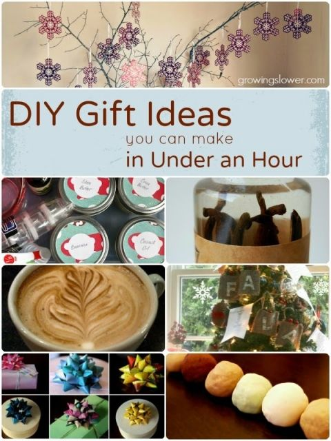 Easy DIY Gift Ideas you can make in Under an Hour. The list includes gifts for kids, babies, women, men, and even stocking stuffers, gift wrap, and Christmas decorations. www.growingslower.com #cheapgift #easydiy