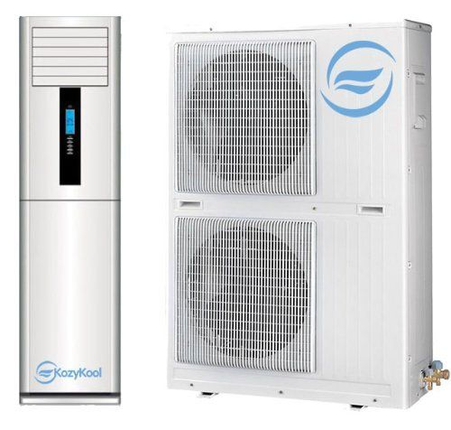KozyKool Floor Standing Split Unit Air Conditioner 60,000 BTU Cooling and Heating 5 ton A/C by KozyKool, Inc. $5250.00. 60,000 BTU 5 Ton Unit 5 Year Warranty. 220V. Ductless Split with LCD and wireless remote Control. Heating and Cooling w/ Dual Mitsubishi Compressors. 1850 CFM. The new 60,000 BTU Floor Standing Air Conditioner by KozyKool, Inc literally blows away the competition.  This industrial or large application unit can cool machinery, servers, lights, and it can do it on...