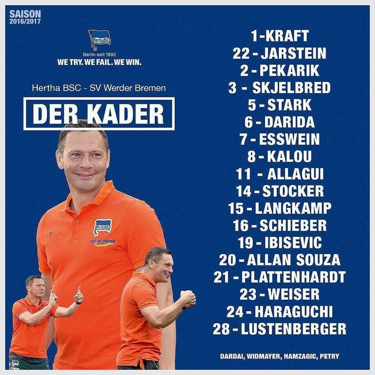 So sieht er aus Unser Kader für Samstag gegen Werder  #bscsvw #team #squad #nextstopolympiastadioberlin #berlin #bremen #3 #points #goesto #herthabsc #hahohe