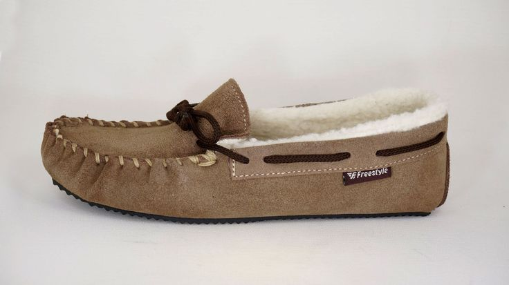 Freestyle Handmade pure wool-lined Suede Khaki Mocassin slippers. R 699. Unisex slipper available from Ladies size 3 to Men's size 12. Handcrafted in Cape Town, South Africa.  Code: 800 Woolly. See online shopping for sizes. Shop for Freestyle  online https://www.thewhatnotshoes.co.za Free delivery within South Africa