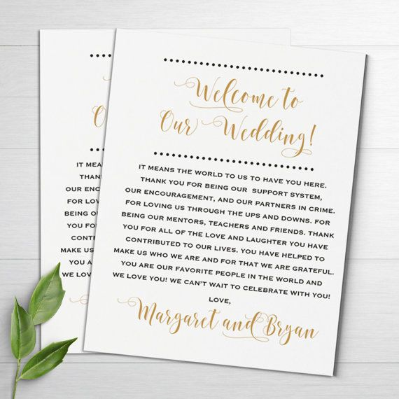 These Wedding Welcome Letters Are Personalized And Perfect To Put Into Your Bags For