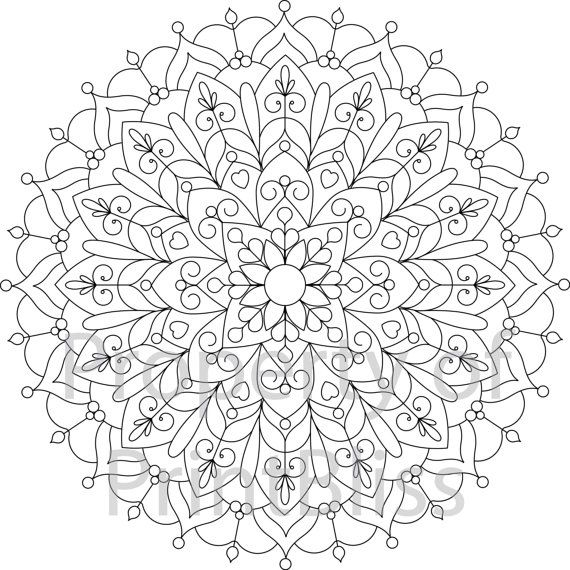 flower mandala printable coloring page by printbliss on etsy - Coloring Pages Mandalas Printable