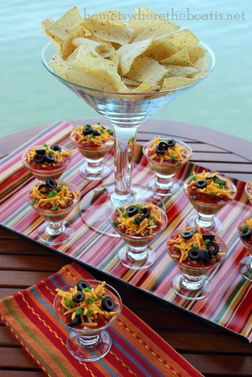 Individual layered dips from Home is where the boat is.  She has so many wonderful ideas.