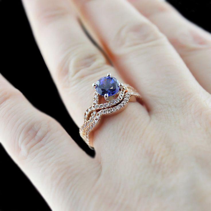 infinity antique engagement ring round cut lab created blue sapphire gemstone - Gemstone Wedding Rings