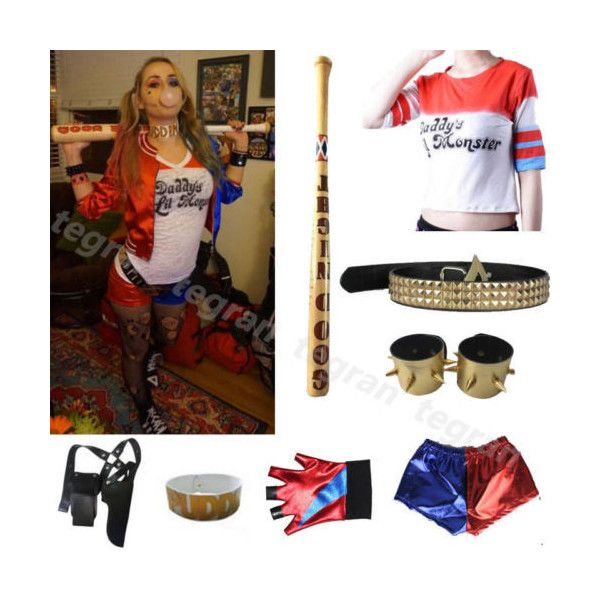 Harley Quinn Suicide Squad Jacket Costume Cosplay Movie Halloween... ($9.55) ❤ liked on Polyvore featuring costumes, joker halloween costume, harley quinn costume, white halloween costumes, role play costumes and cosplay halloween costumes