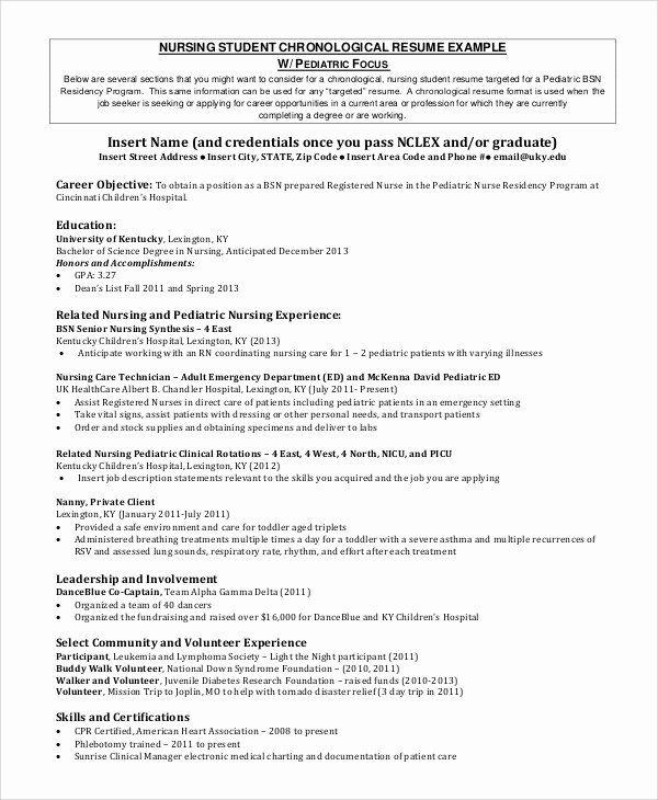 25 Nursing Student Resume Template Word In 2020 With Images