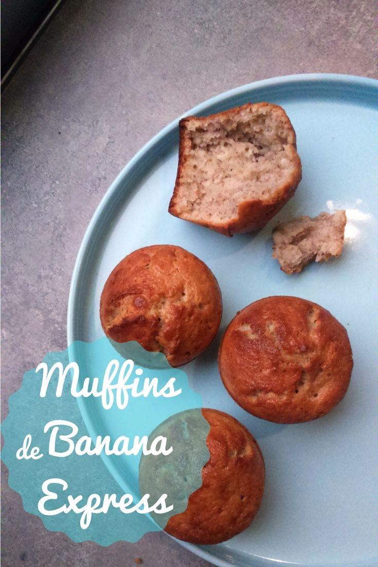 Unos Muffins de Banana Express que se hacen rapidísimo, una receta que no falla