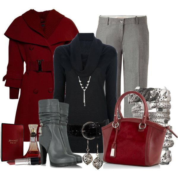 Work Outfit: Sweaters, Outfit Idea, Color Combos, Shades Of Red, Winter Outfit, Grey, Work Outfit, Warm Outfit, Coats