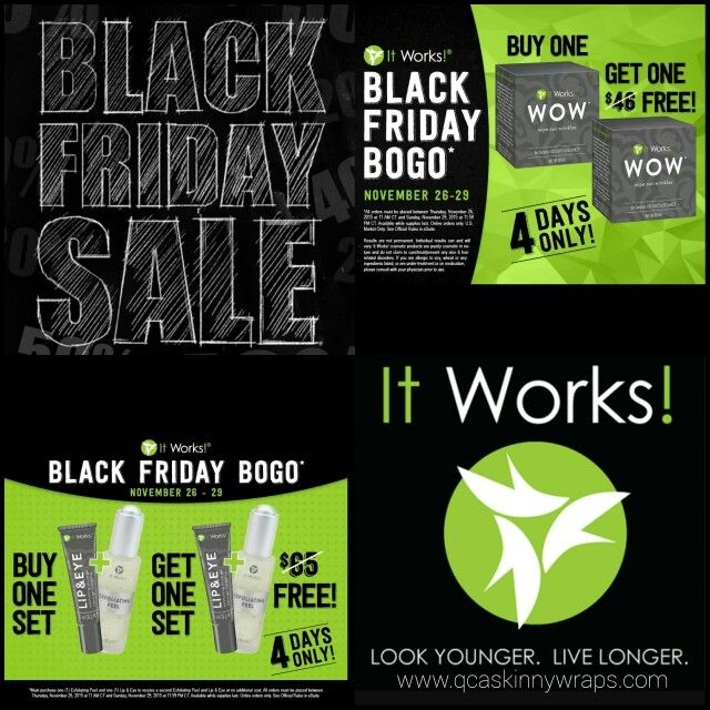 It Works Black Friday SKIN CARE SALE! BOGO Exfoliating Peel/Lip & Eye, and WOW! Order online at www.qcitworks.com or contact Melissa at 563.370.2669!