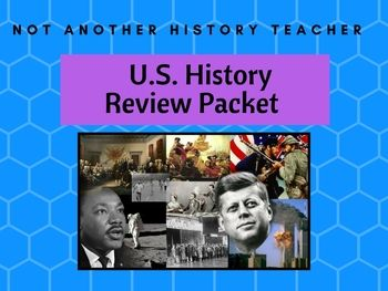 This is a packet that would be a useful study tool with charts for any student studying United States History or Government. It includes how a bill becomes a law, amendments, checks and balances chart, compromises at the Constitutional Convention, details about the Articles of Confederation, important Supreme Court Cases, constitutional principles, events in US history, possible essay topics, and crossword puzzles.