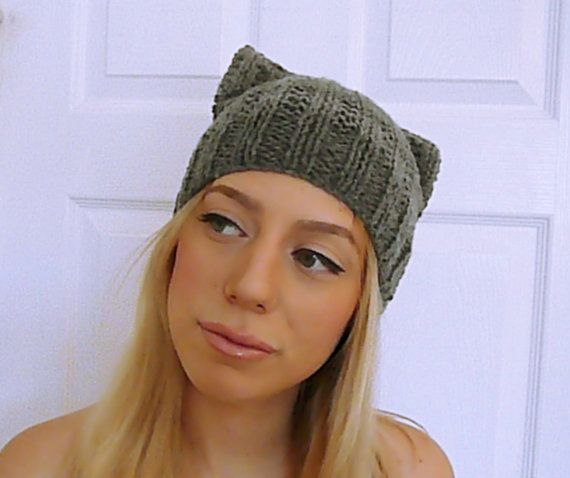 Hey, I found this really awesome Etsy listing at https://www.etsy.com/listing/174088182/gray-knit-cat-hat-cat-ear-beanie-cat-ear