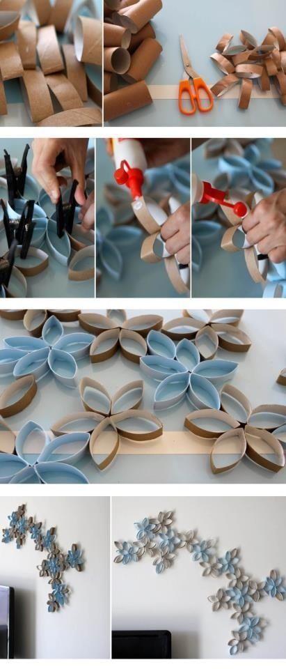 Basteln im #Frühling: Wanddekoration basteln aus Klopapierrollen #diy
