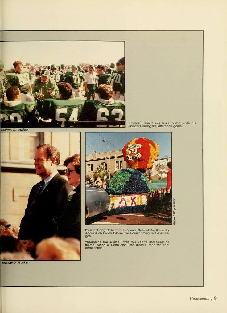 """Athena Yearbook, 1984. Ohio University Homecoming, """" Coach BRIAN BURKE tries to motivate his Bobcats during the afternoon game, President Ping delivered his annual state of the University Address on Friday before Homecoming festivities began, 'Spanning the Globe'  was this year's Homecoming theme Alpha Xi Delta and Beta Theta Pi won the float competition"""", Fall 1983, Ohio University Archives"""