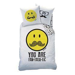 Housse de couette blanc SMILEY WORLD 100% coton SMILEY