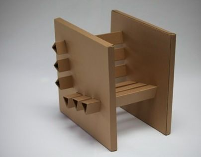 cardboard furniture design. a chair of 3 sheets cardboard and hot glue it was designed to support furniture design f