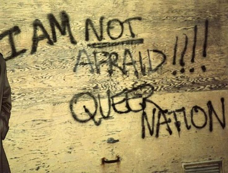 """I AM NOT AFRAID!!!! QUEER NATION,"" Queer Nation (@queernationny) graffiti, New York City, c. 1990"