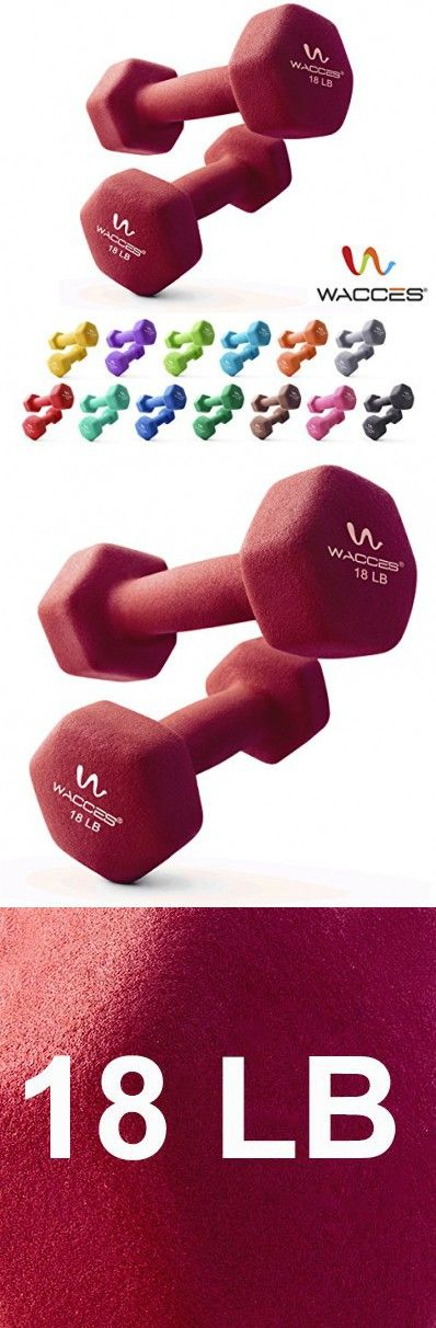 Wacces Neoprene Dipped Coated Set of 2 Dumbbells Hand Weights Sets Non Slip Grip 2 x 18 LB