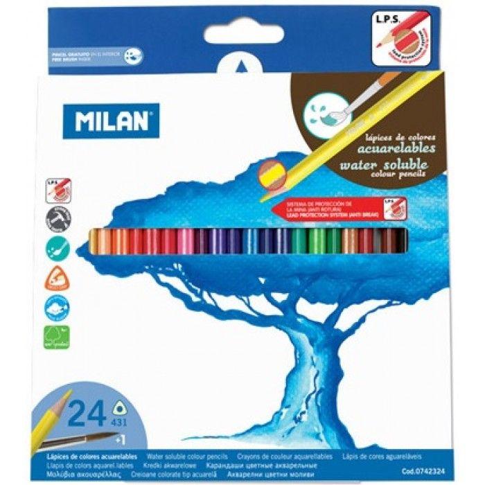 Creioane colorate acuarelabile, 24 buc/set, Milan - Creioane colorate - Articole pentru scoala - Rechizite