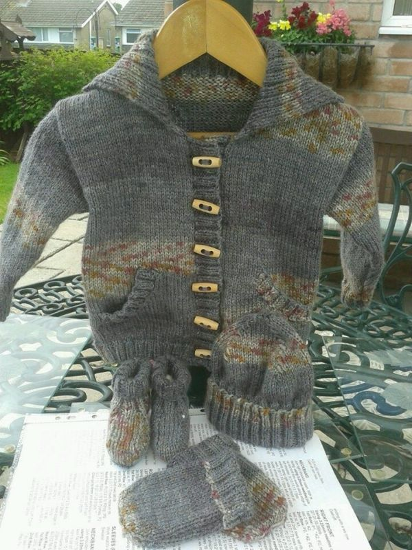 Boys hand knitted cardigan set.