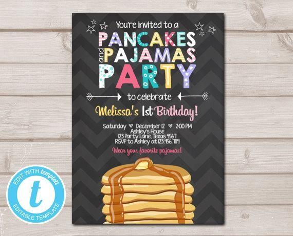 Pancakes and Pajamas Birthday Invitation Pancake Birthday Party Girl