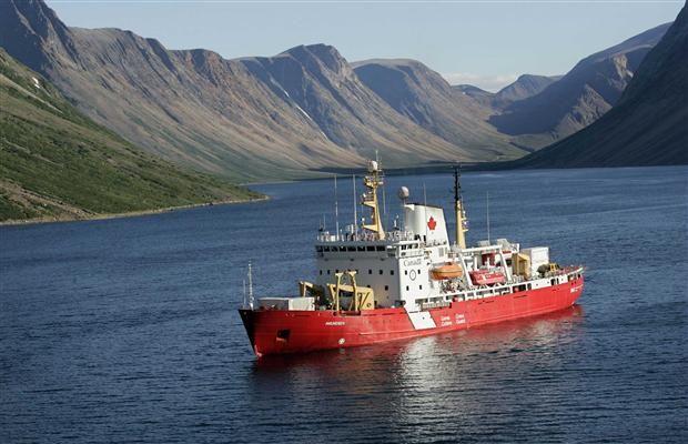 The icebreaker Amundsen in the Nachvak fjord in northern Labrador, Newfoundland and Labrador, Canada